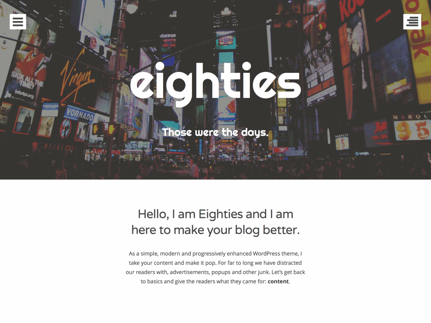 Eighties Preview Wordpress Theme - Rating, Reviews, Preview, Demo & Download
