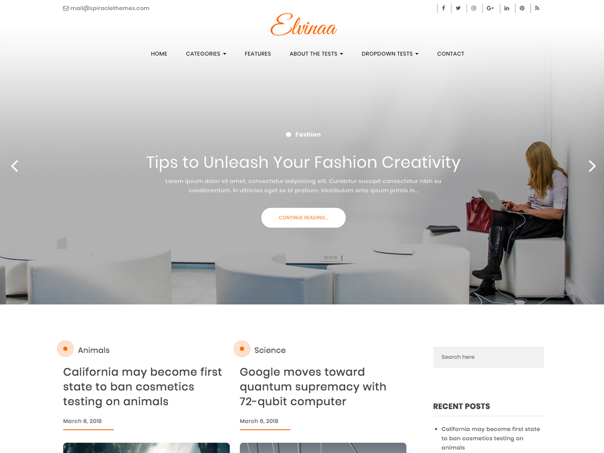 Elvinaa Preview Wordpress Theme - Rating, Reviews, Preview, Demo & Download