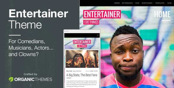 Entertainer Preview Wordpress Theme - Rating, Reviews, Preview, Demo & Download