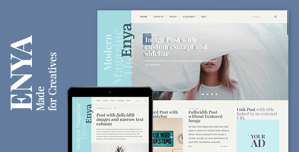 Enya Preview Wordpress Theme - Rating, Reviews, Preview, Demo & Download