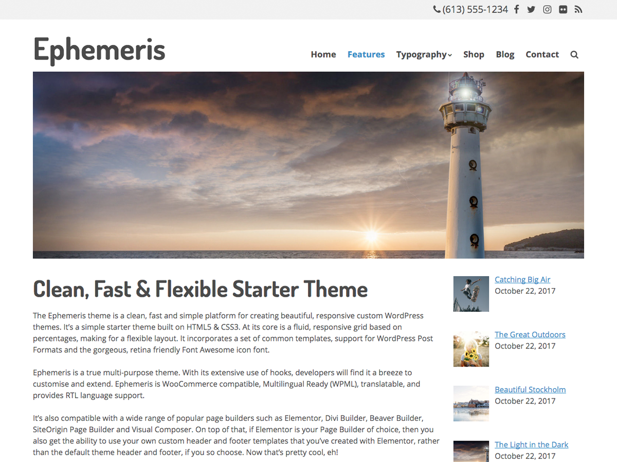 Ephemeris Preview Wordpress Theme - Rating, Reviews, Preview, Demo & Download