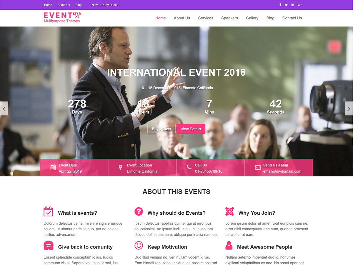 Event Star Preview Wordpress Theme - Rating, Reviews, Preview, Demo & Download