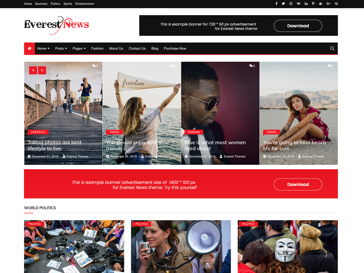 Everest News Preview Wordpress Theme - Rating, Reviews, Preview, Demo & Download