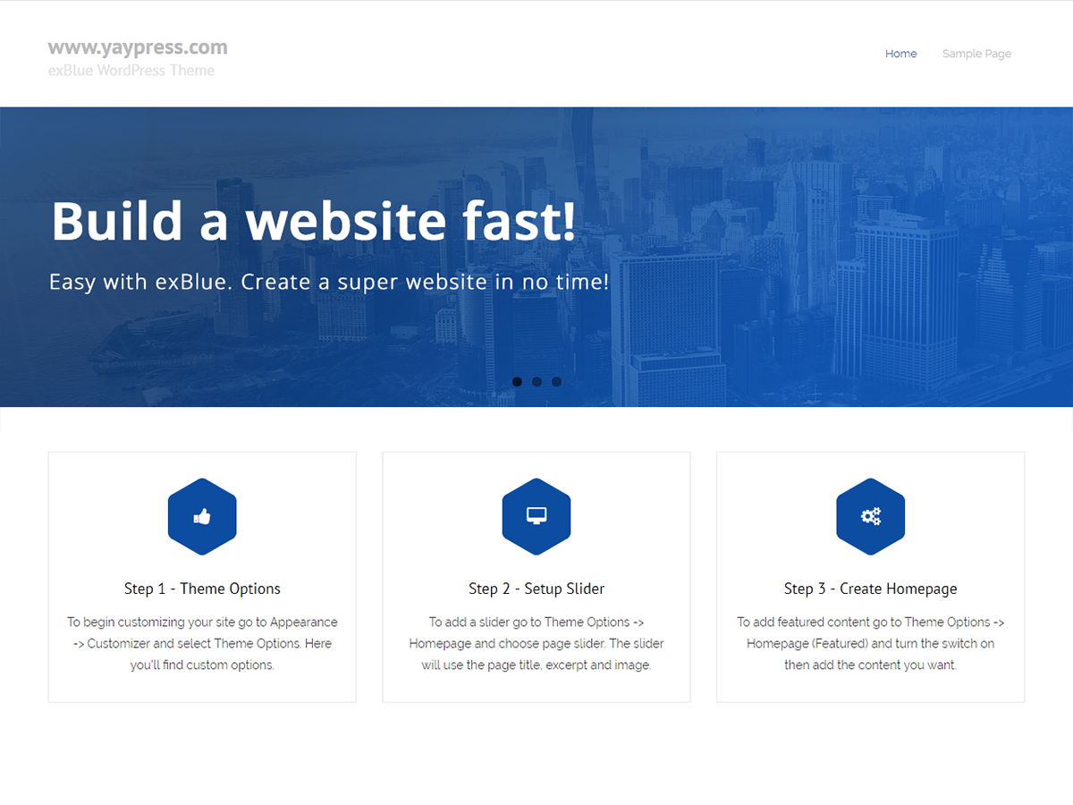 ExBlue Preview Wordpress Theme - Rating, Reviews, Preview, Demo & Download