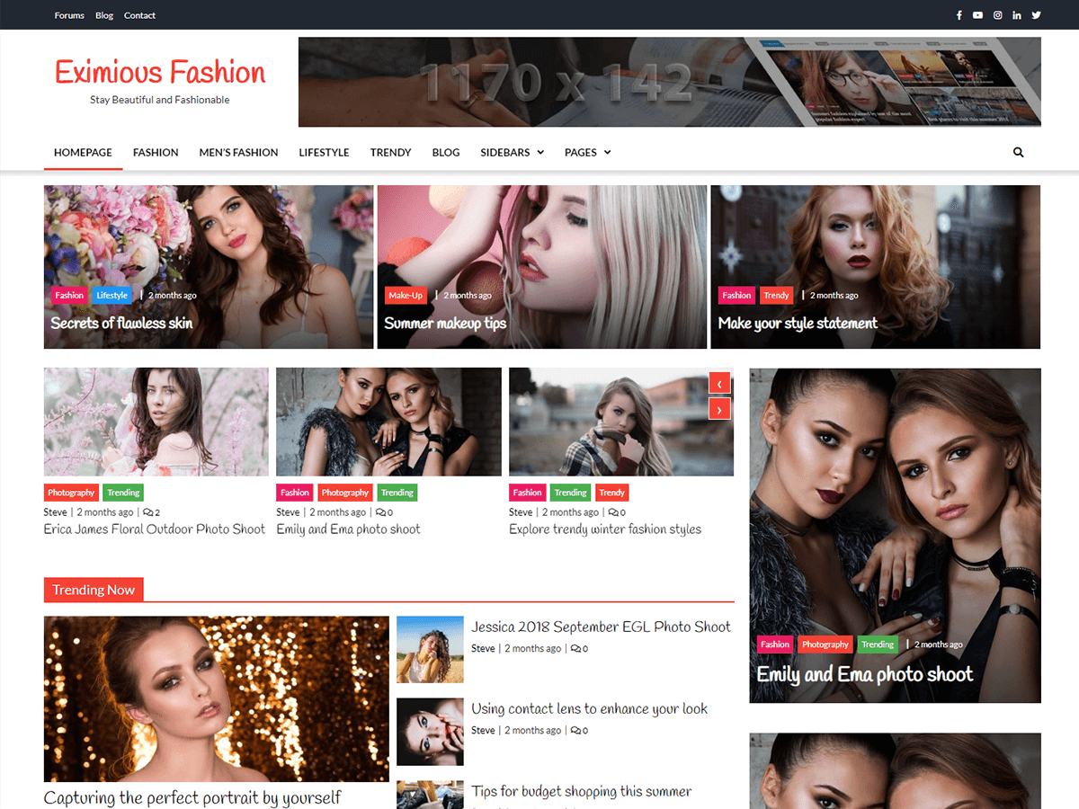 Eximious Fashion Preview Wordpress Theme - Rating, Reviews, Preview, Demo & Download