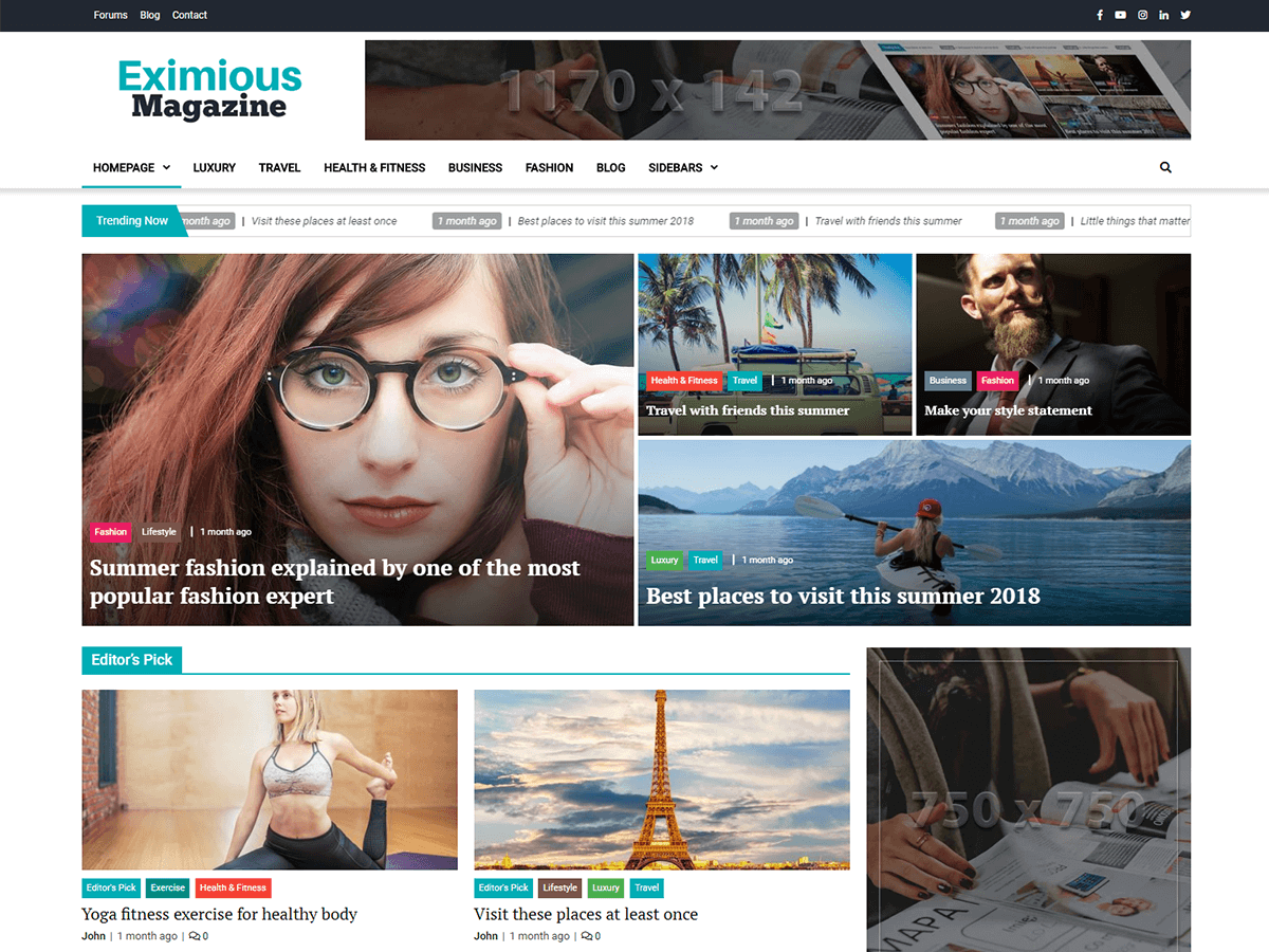 Eximious Magazine Preview Wordpress Theme - Rating, Reviews, Preview, Demo & Download