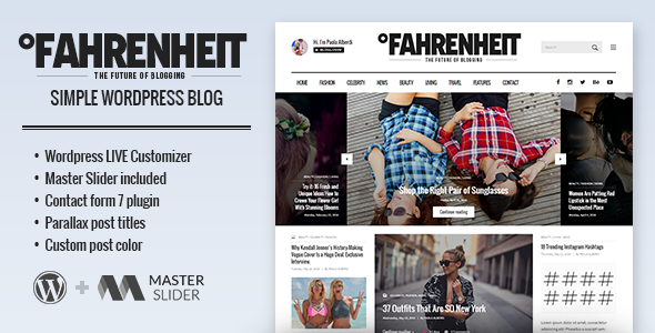 Fahrenheit Preview Wordpress Theme - Rating, Reviews, Preview, Demo & Download