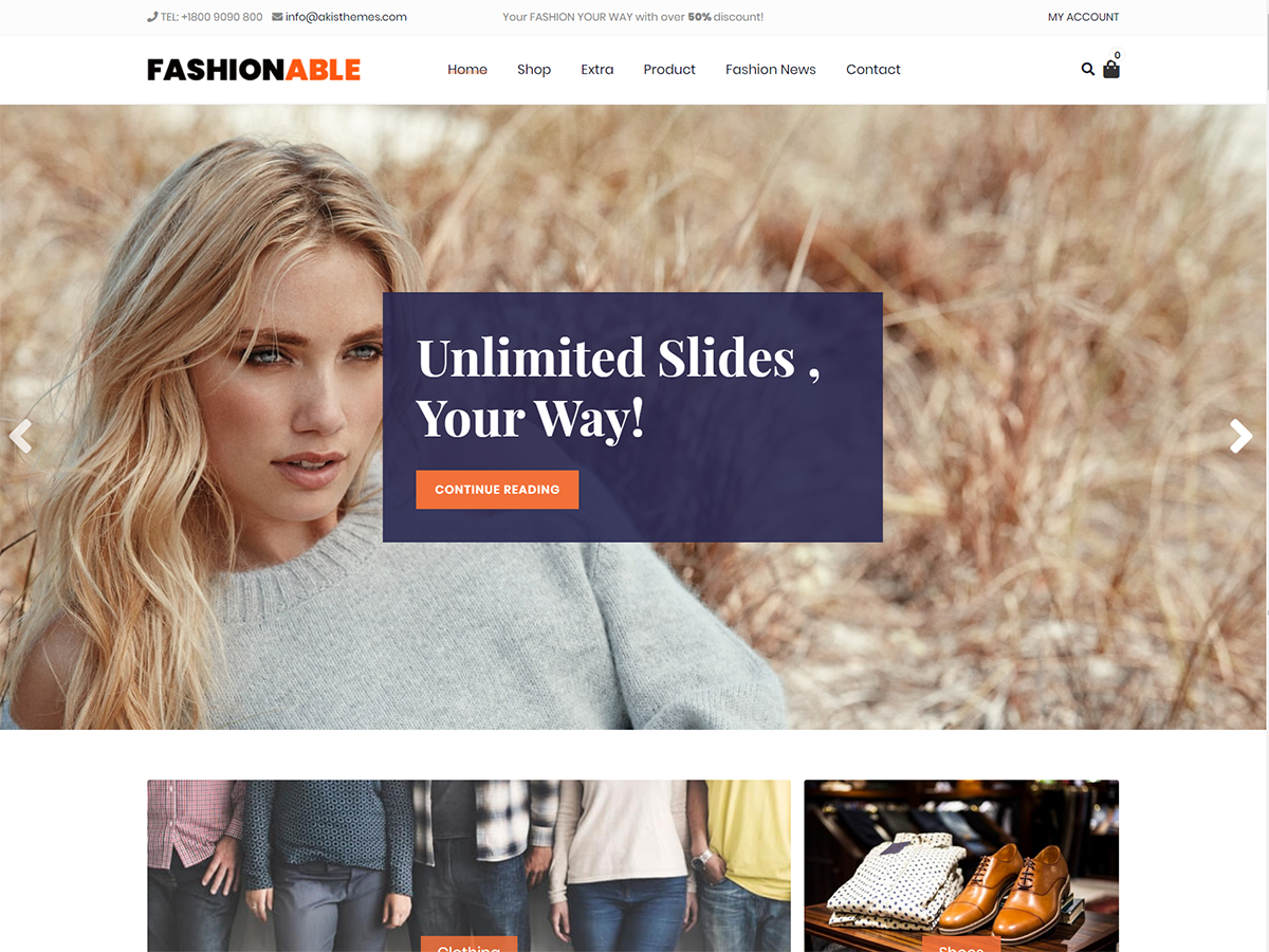 Fashionable Store Preview Wordpress Theme - Rating, Reviews, Preview, Demo & Download