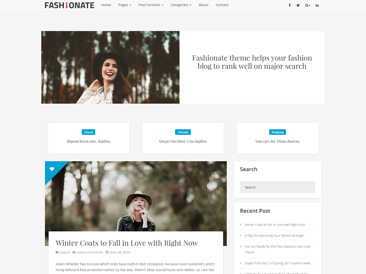 Fashionate Preview Wordpress Theme - Rating, Reviews, Preview, Demo & Download