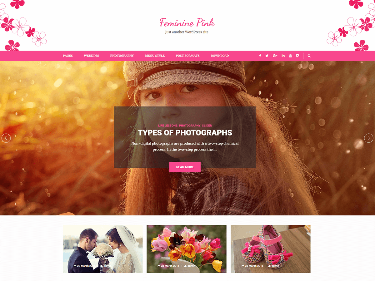 Feminine Pink Preview Wordpress Theme - Rating, Reviews, Preview, Demo & Download