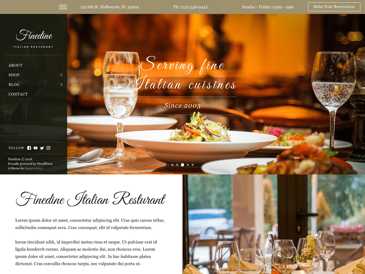 Finedine Preview Wordpress Theme - Rating, Reviews, Preview, Demo & Download