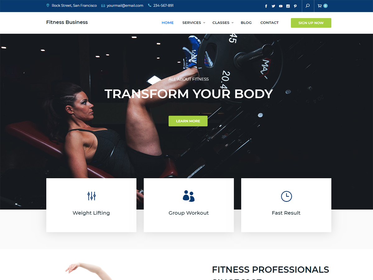 Fitness Business Preview Wordpress Theme - Rating, Reviews, Preview, Demo & Download