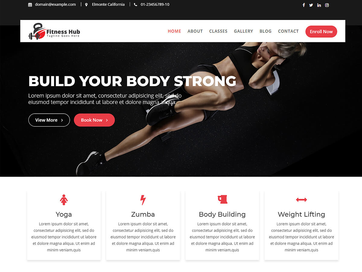 Fitness Hub Preview Wordpress Theme - Rating, Reviews, Preview, Demo & Download