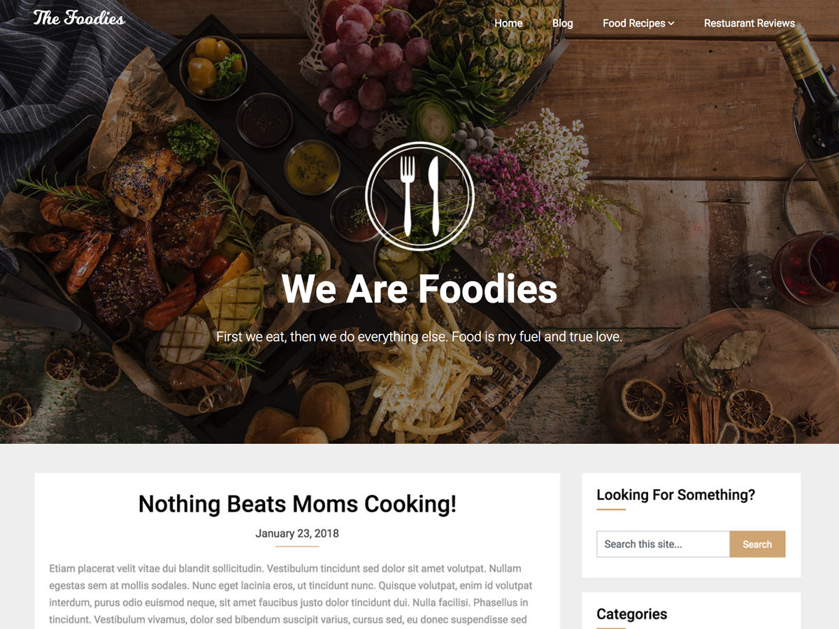 Foodie Blog Preview Wordpress Theme - Rating, Reviews, Preview, Demo & Download