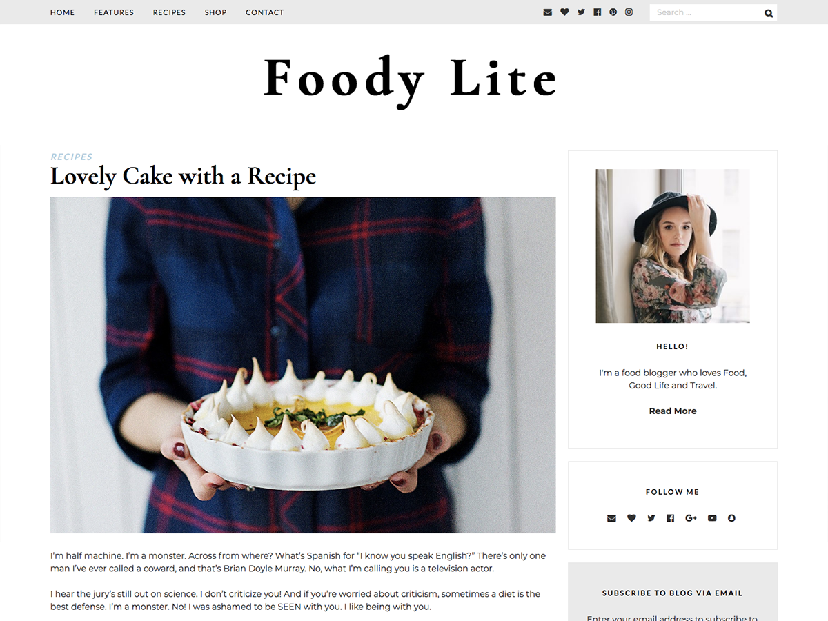 FoodyLite Preview Wordpress Theme - Rating, Reviews, Preview, Demo & Download