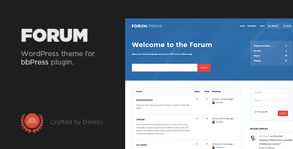 Forum Preview Wordpress Theme - Rating, Reviews, Preview, Demo & Download