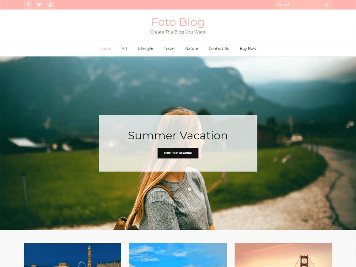 Foto Blog Preview Wordpress Theme - Rating, Reviews, Preview, Demo & Download