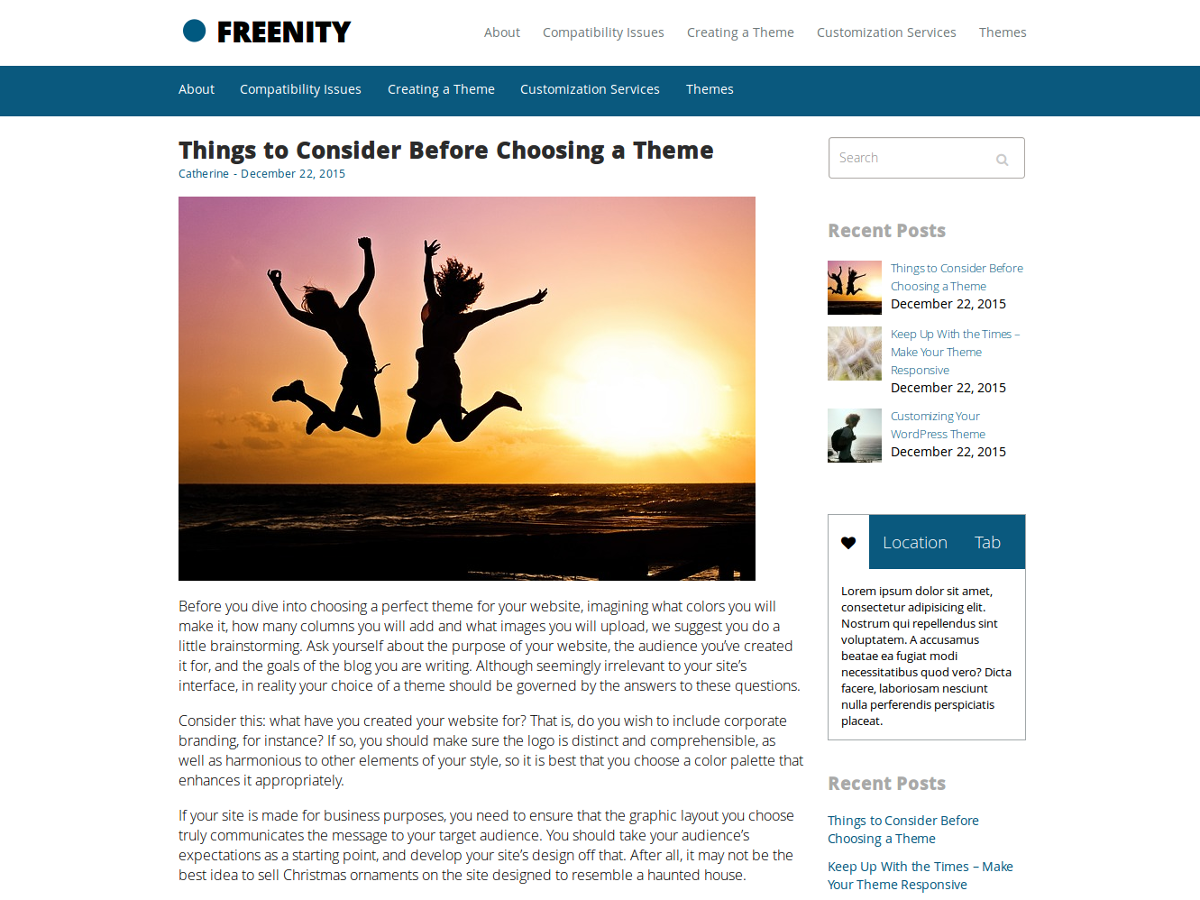 Freenity Preview Wordpress Theme - Rating, Reviews, Preview, Demo & Download