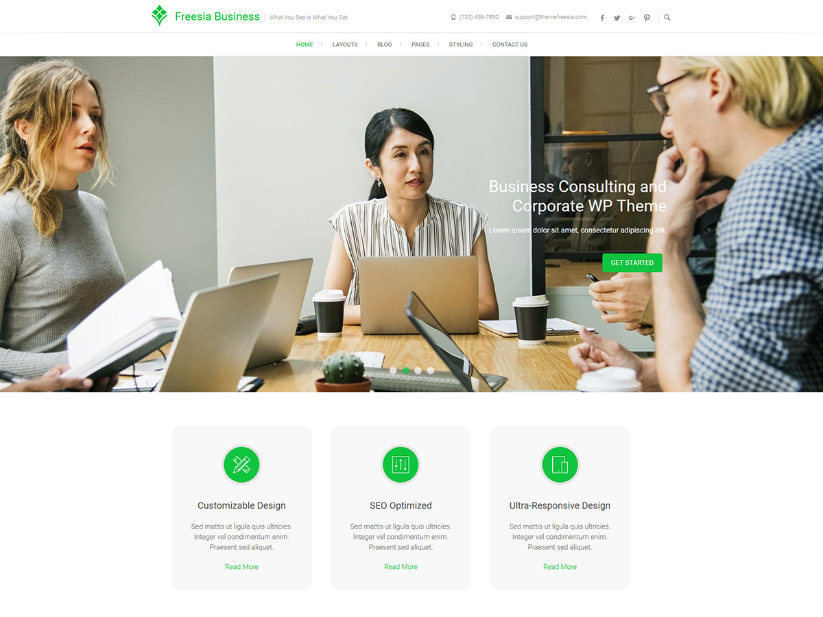 Freesia Business Preview Wordpress Theme - Rating, Reviews, Preview, Demo & Download