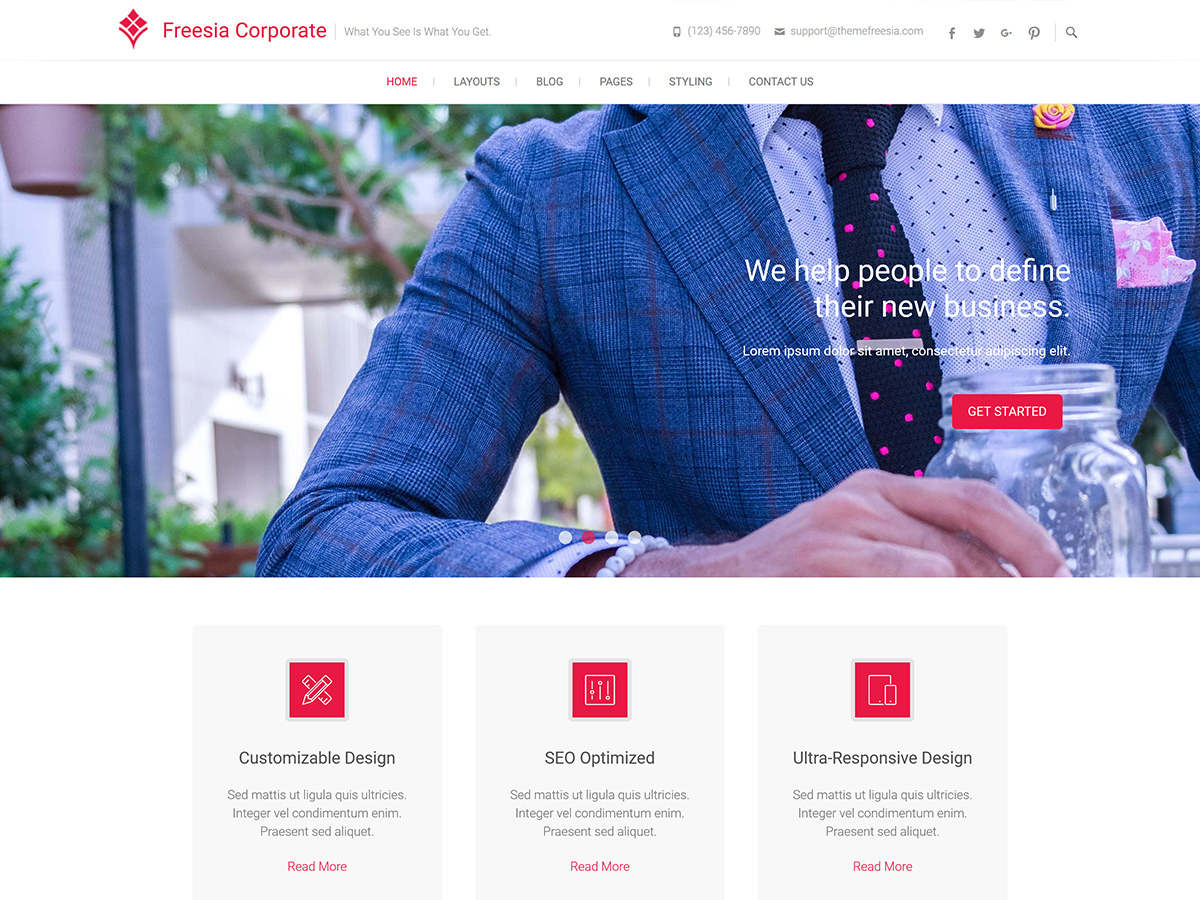 Freesia Corporate Preview Wordpress Theme - Rating, Reviews, Preview, Demo & Download