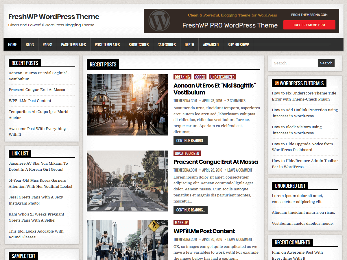 FreshWP Preview Wordpress Theme - Rating, Reviews, Preview, Demo & Download