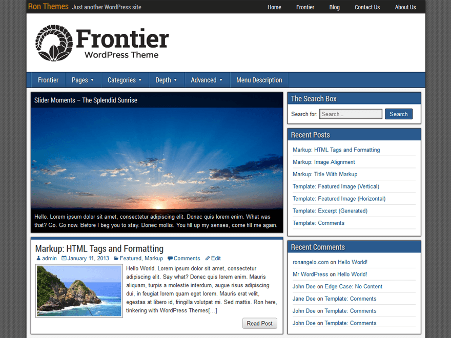 Frontier Preview Wordpress Theme - Rating, Reviews, Preview, Demo & Download