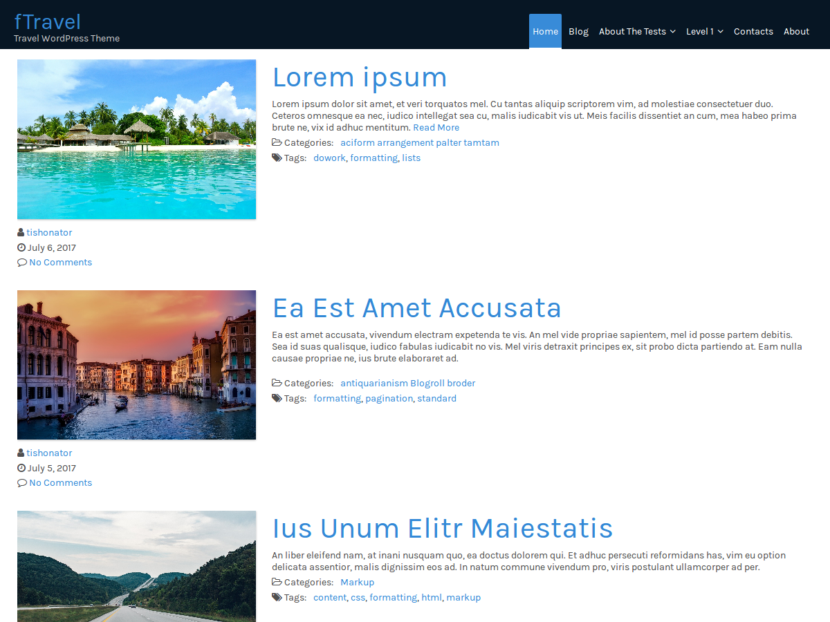 FTravel Preview Wordpress Theme - Rating, Reviews, Preview, Demo & Download