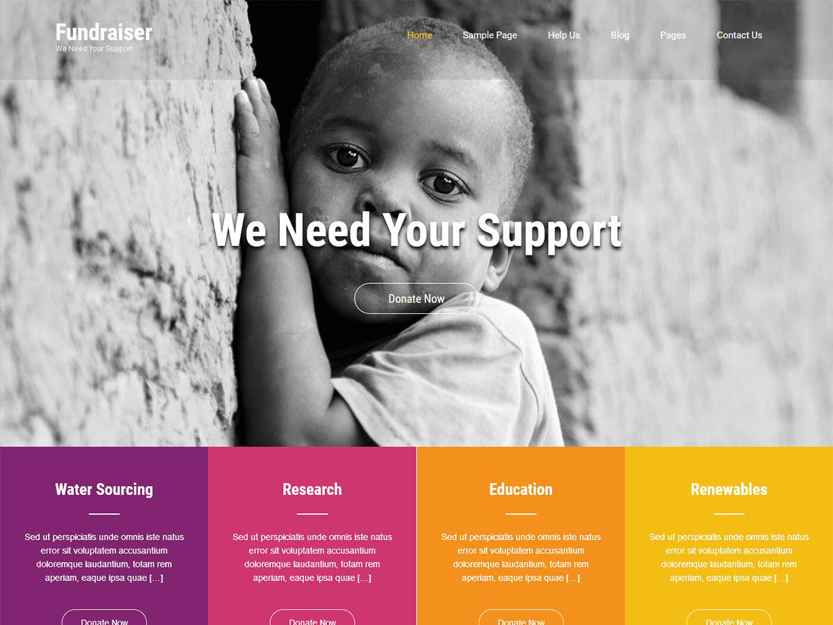 Fundraiser Lite Preview Wordpress Theme - Rating, Reviews, Preview, Demo & Download