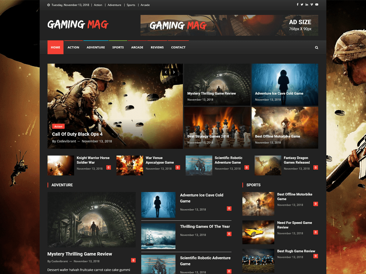 Gaming Mag Preview Wordpress Theme - Rating, Reviews, Preview, Demo & Download