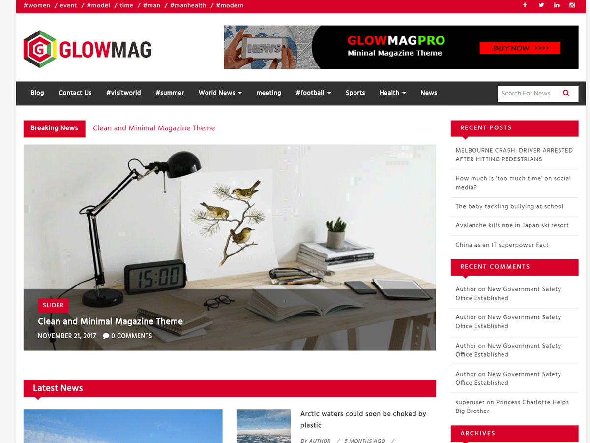 GlowMag Preview Wordpress Theme - Rating, Reviews, Preview, Demo & Download