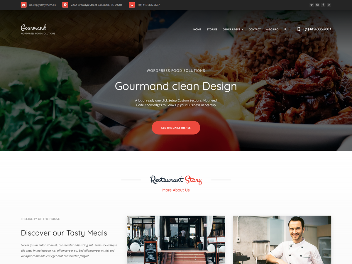 Gourmand Preview Wordpress Theme - Rating, Reviews, Preview, Demo & Download
