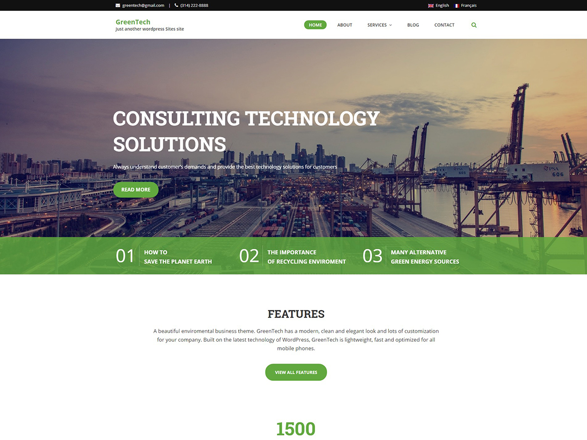GreenTech Lite Preview Wordpress Theme - Rating, Reviews, Preview, Demo & Download
