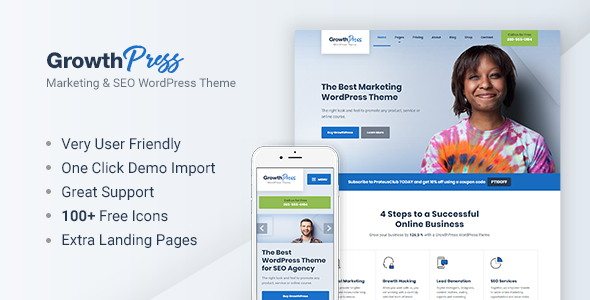 GrowthPress Preview Wordpress Theme - Rating, Reviews, Preview, Demo & Download