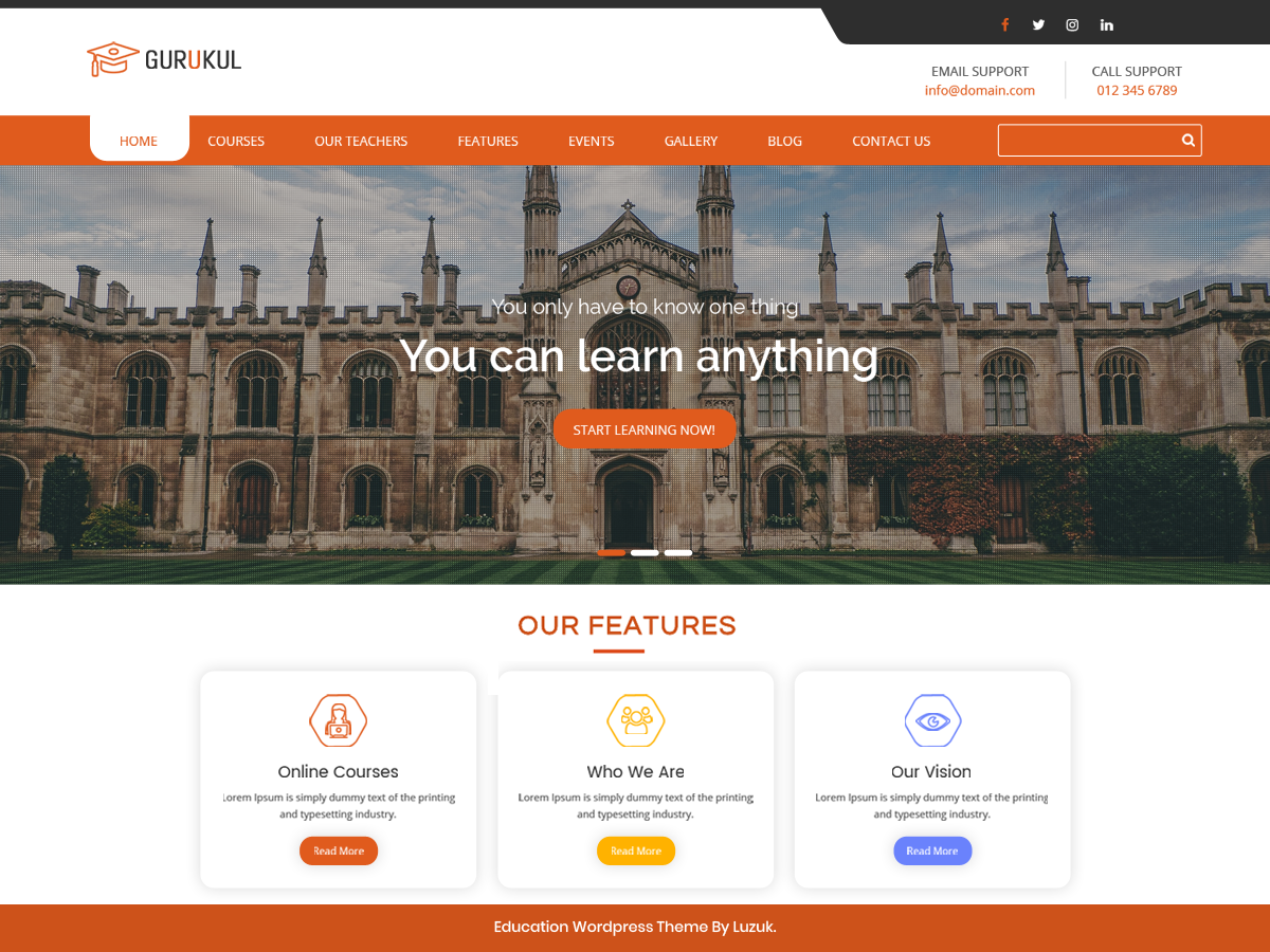 Gurukul Education Preview Wordpress Theme - Rating, Reviews, Preview, Demo & Download