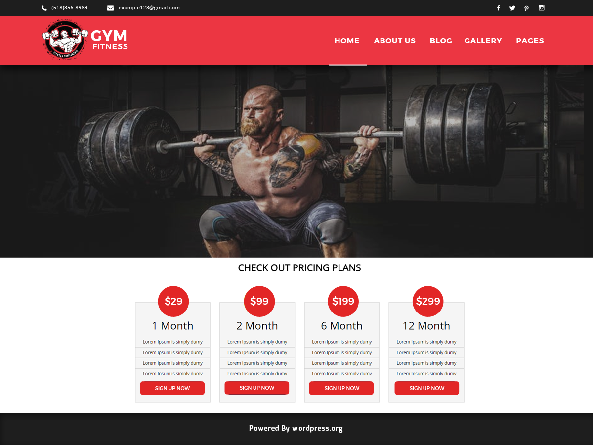Gymfitness Preview Wordpress Theme - Rating, Reviews, Preview, Demo & Download