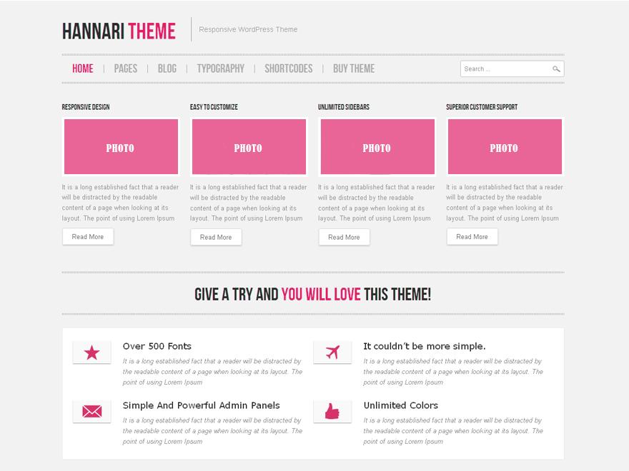 Hannari Pink Preview Wordpress Theme - Rating, Reviews, Preview, Demo & Download