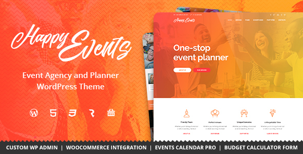 Happy Events Wordpress Theme - Rating, Reviews, Preview, Demo & Download