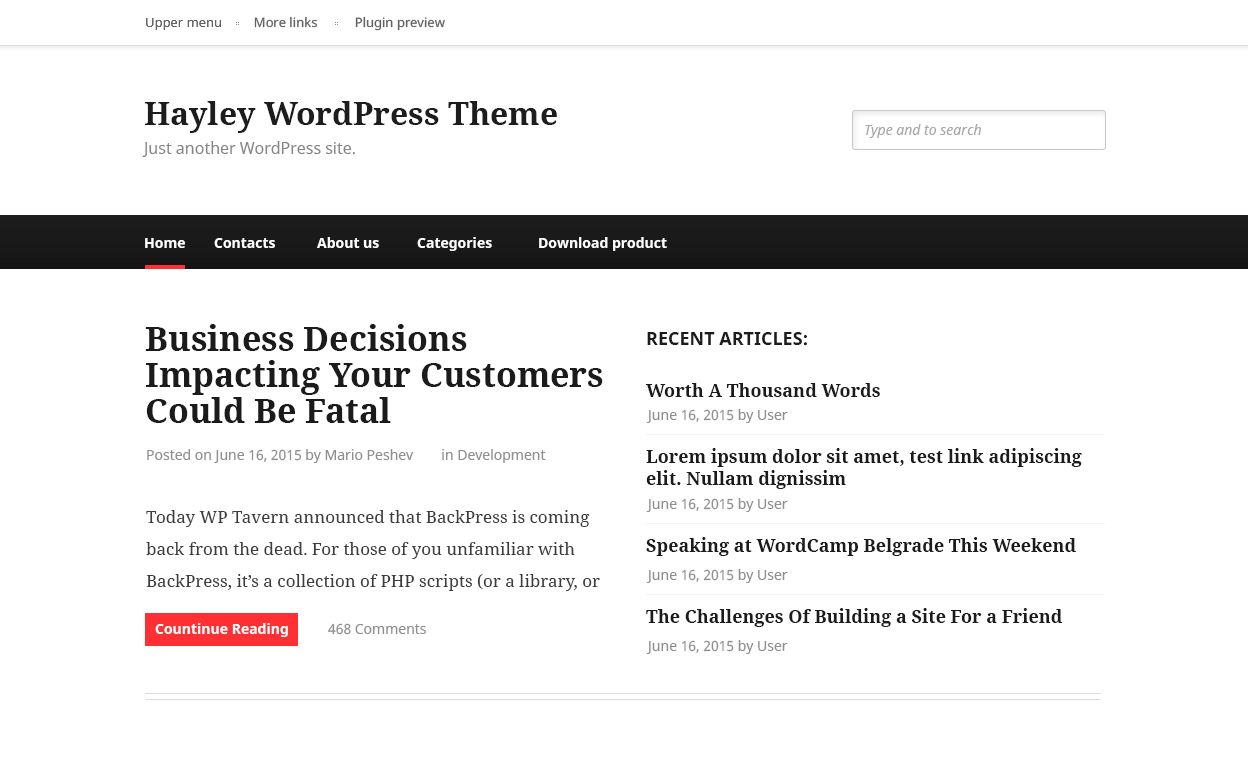 Hayley Preview Wordpress Theme - Rating, Reviews, Preview, Demo & Download