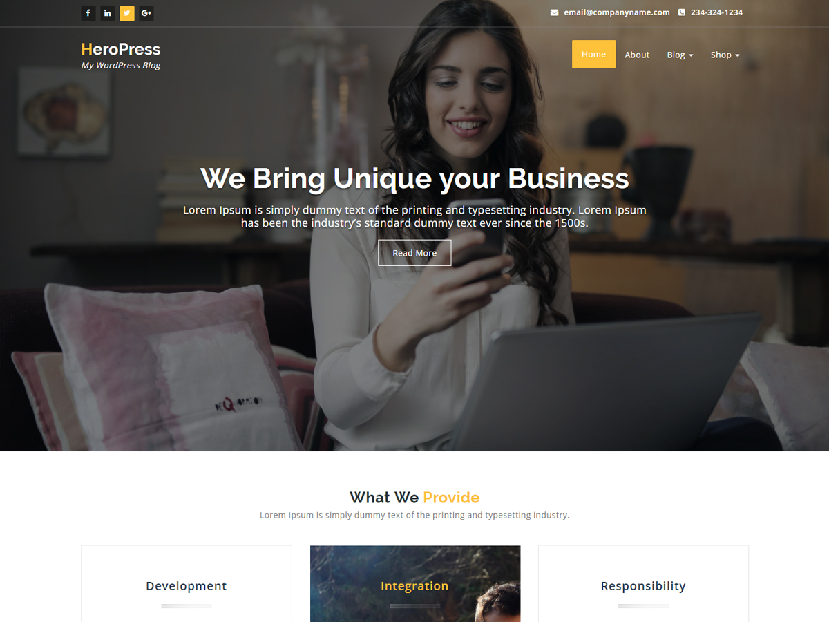 HeroPress Preview Wordpress Theme - Rating, Reviews, Preview, Demo & Download