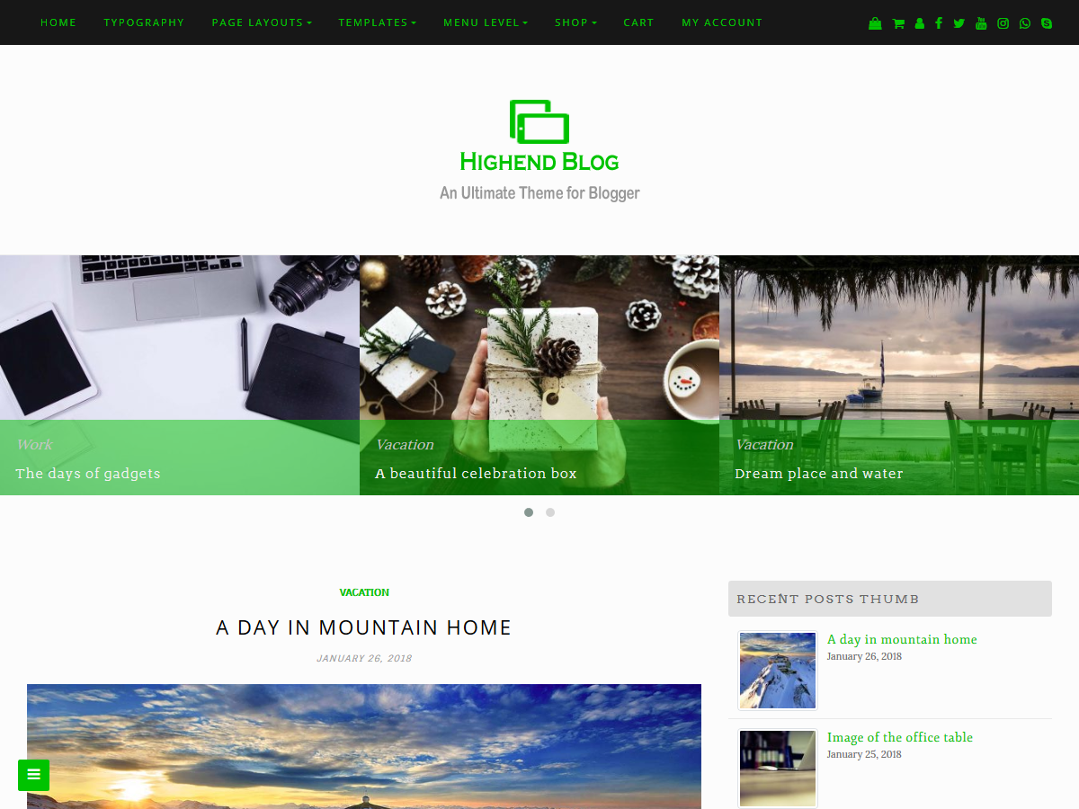 Highend Blog Preview Wordpress Theme - Rating, Reviews, Preview, Demo & Download