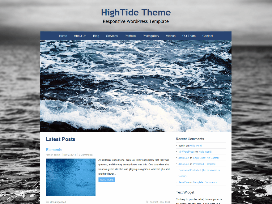 HighTide Preview Wordpress Theme - Rating, Reviews, Preview, Demo & Download