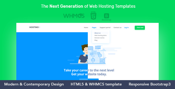 Hostino WHMCS Preview Wordpress Theme - Rating, Reviews, Preview, Demo & Download