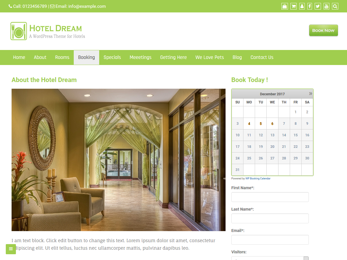 Hotel Dream Preview Wordpress Theme - Rating, Reviews, Preview, Demo & Download
