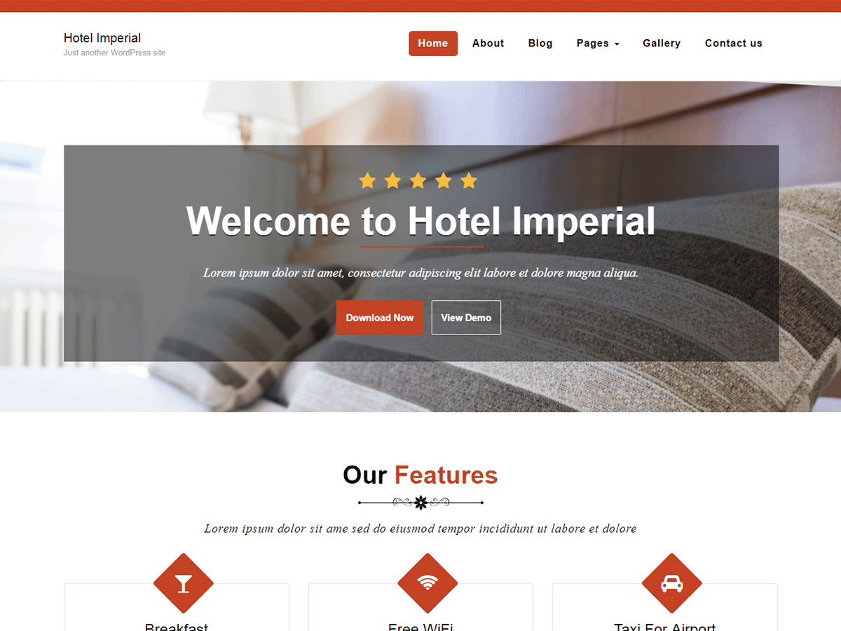 Hotel Imperial Preview Wordpress Theme - Rating, Reviews, Preview, Demo & Download