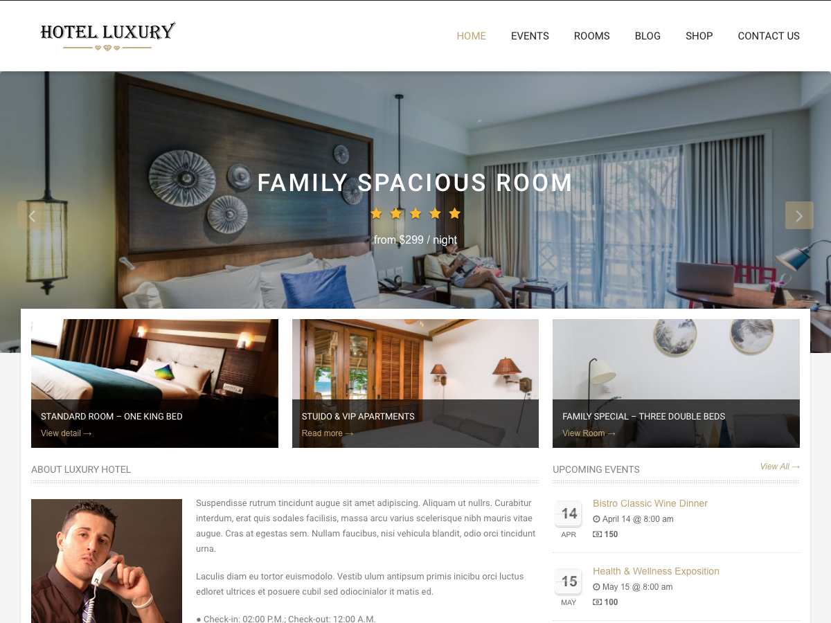 Hotel Luxury Preview Wordpress Theme - Rating, Reviews, Preview, Demo & Download