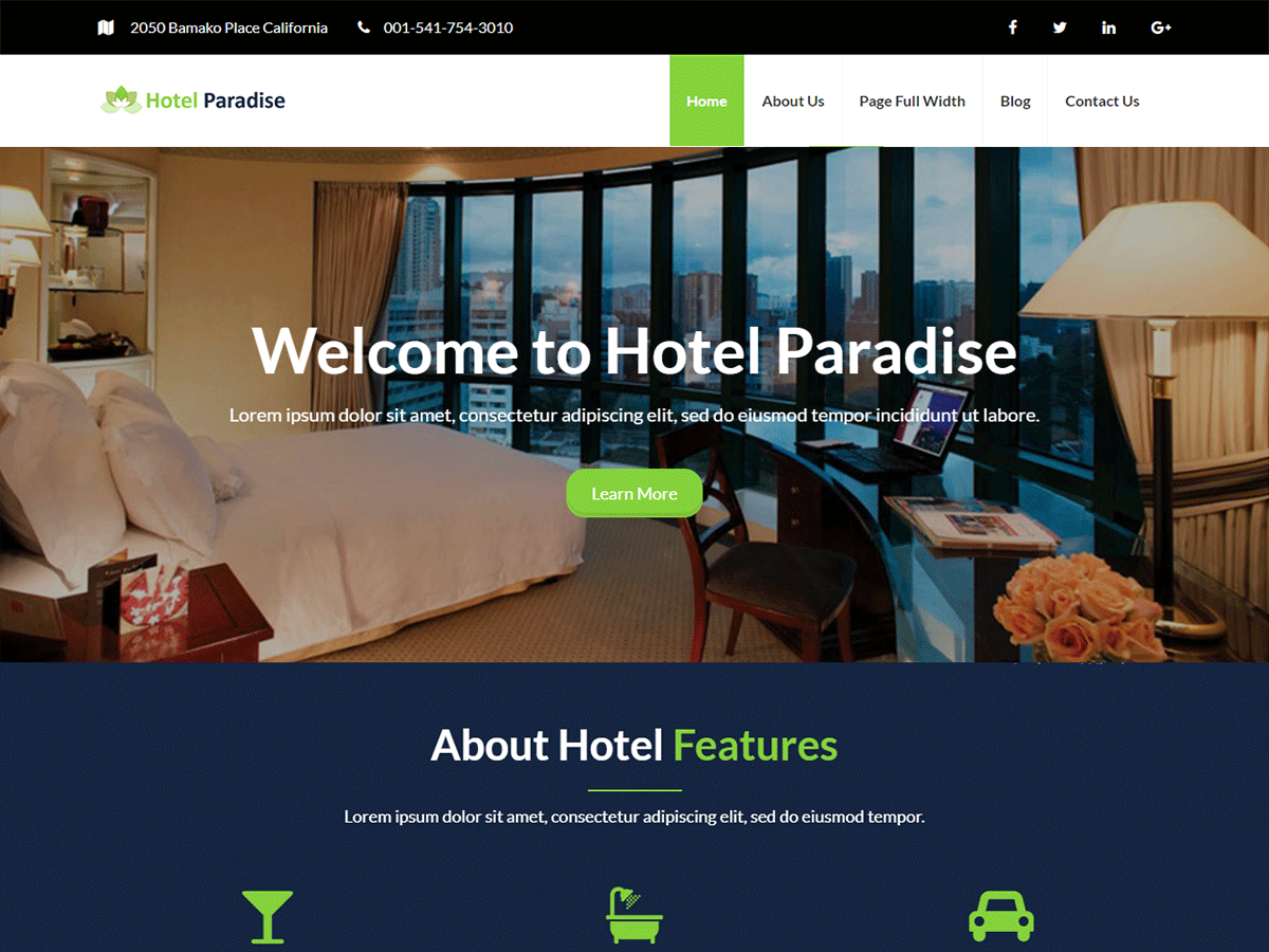 Hotel Paradise Preview Wordpress Theme - Rating, Reviews, Preview, Demo & Download