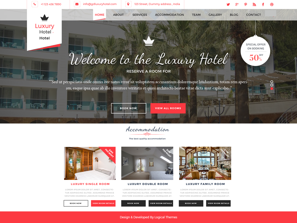 Hotel Resort Preview Wordpress Theme - Rating, Reviews, Preview, Demo & Download