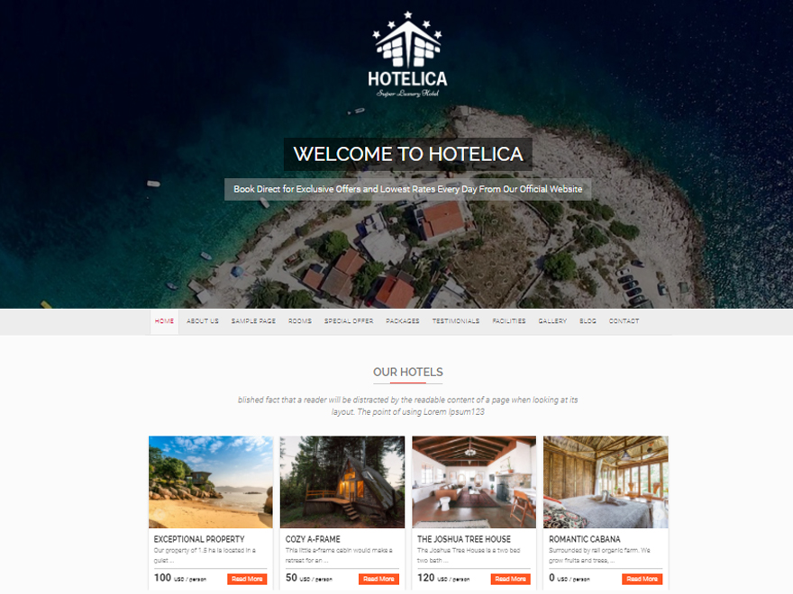 Hotelica Preview Wordpress Theme - Rating, Reviews, Preview, Demo & Download