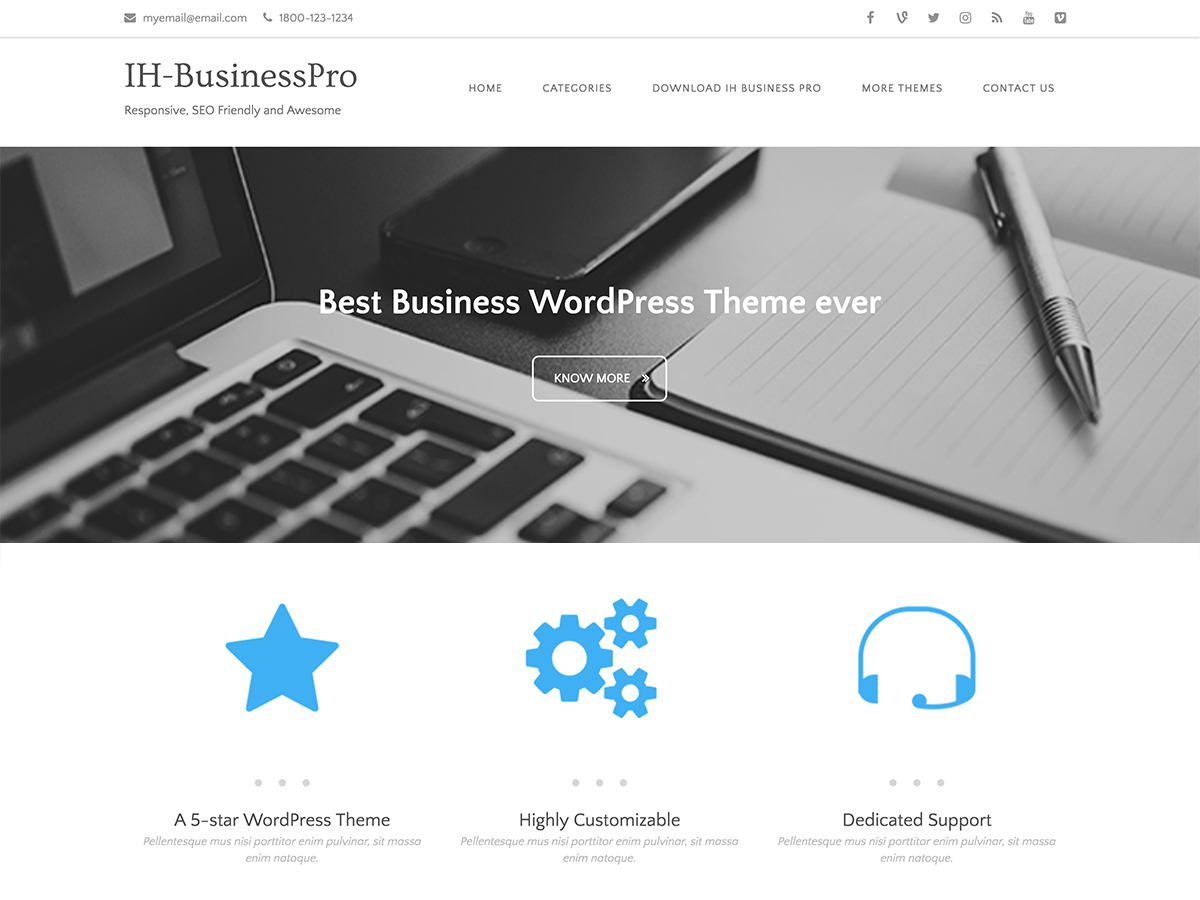 IH Business Preview Wordpress Theme - Rating, Reviews, Preview, Demo & Download