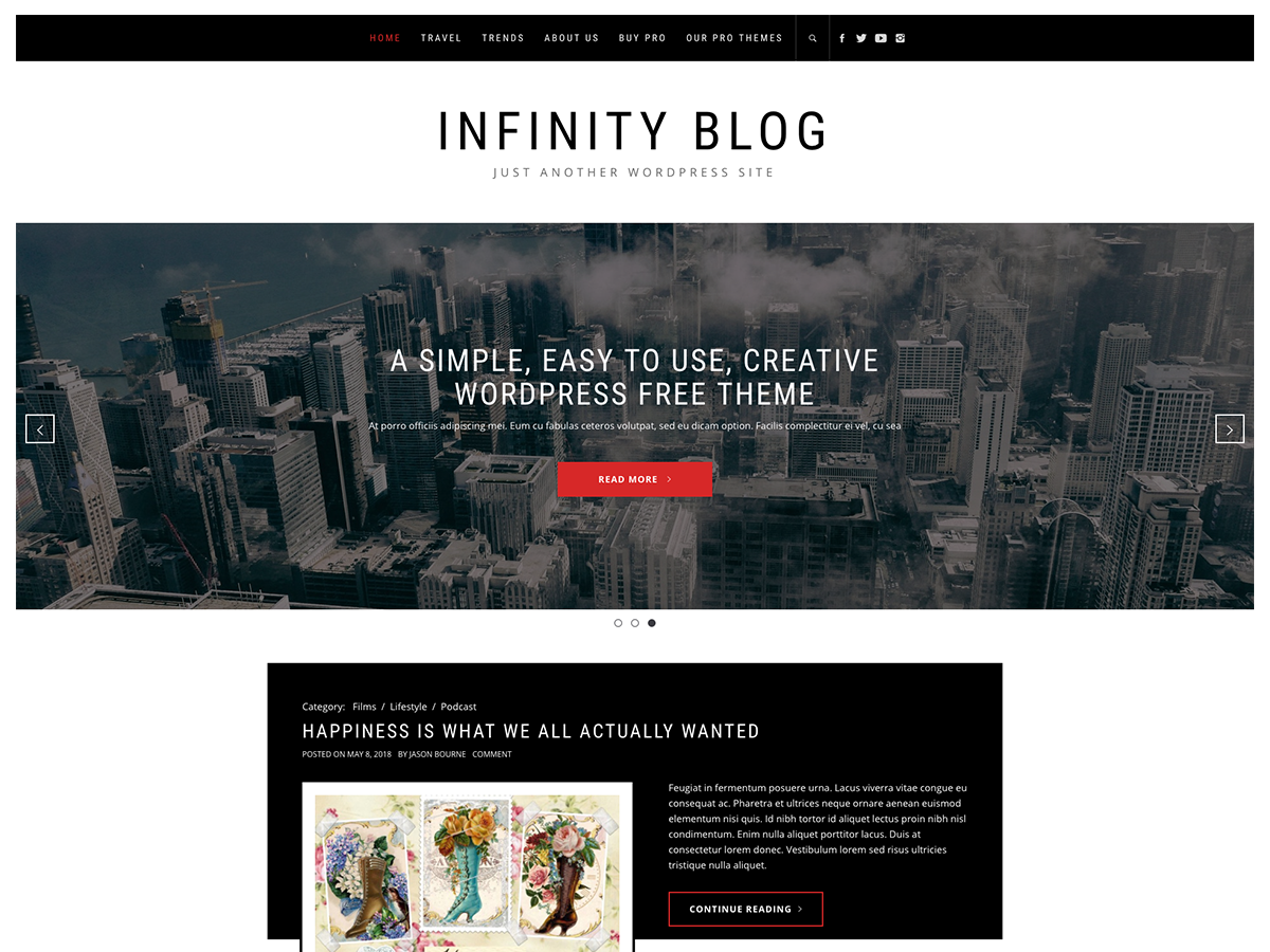 Infinity Blog Preview Wordpress Theme - Rating, Reviews, Preview, Demo & Download